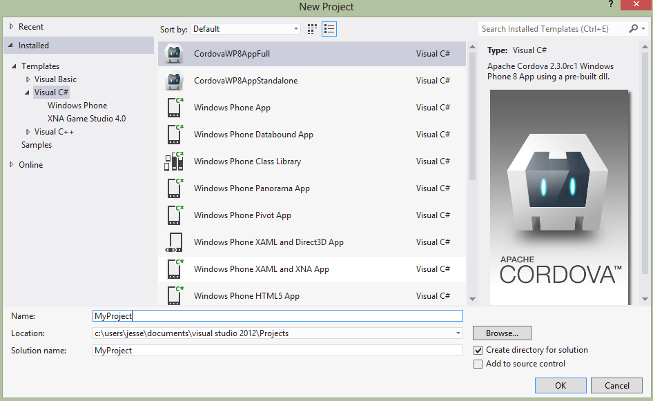 Getting started with windows phone 8 apache cordova setup new project pronofoot35fo Choice Image
